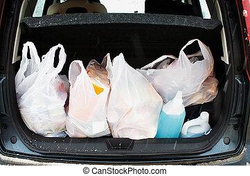 polyethylene bags in a trunk