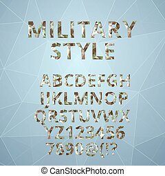 Polygon alphabet  with military font style.