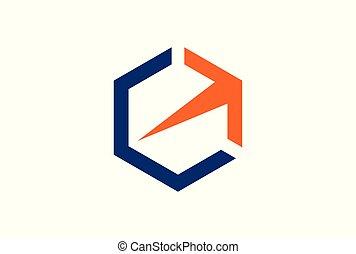 polygon arrow logo vector