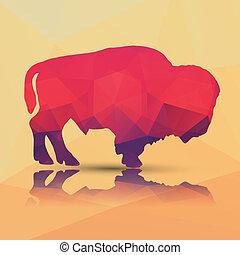 Polygon buffalo - Geometric polygonal buffalo, pattern...