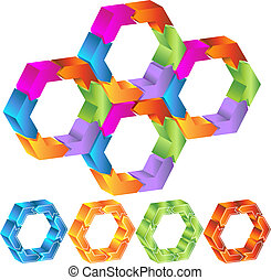 Polygon Diagram Set isolated on a white background.