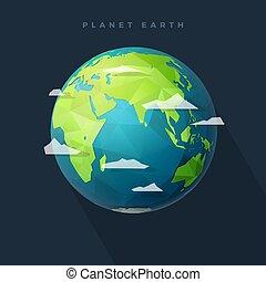 polygon east earth hemisphere on dark