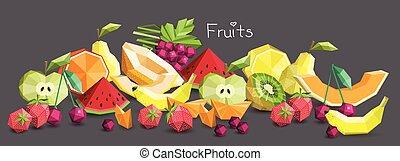 Polygon fruit set, vector illustration.