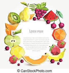 Polygon fruit set, vector round frame.