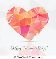 Polygon Heart - vector illustration