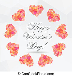 Polygon Hearts - vector illustration