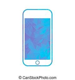 polygon icon phone - Gold modern polygonal icon for...