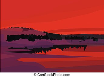 polygon landscape. lake, mountains and trees in red colors
