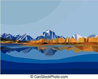 polygon landscape. mountain and lake landscape illustration