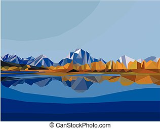 polygon landscape. mountain and lake landscape illustration
