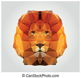 Polygon Lion - Geometric polygon lion head, triangle...