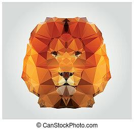 Polygon Lion - Geometric polygon lion head, triangle...