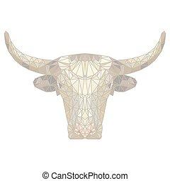 polygon., mód, illustration., tehén, fény, poly, polygonal, háttér., alacsony, állat, bika, origami, design.