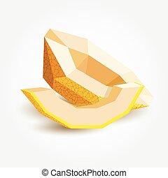 Polygon melon, vector illustration.