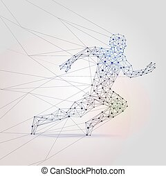 Polygon mesh running male silhouette. Abstract man runner low poly background vector illustration