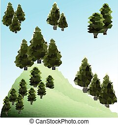 Polygon pines in forest. Green mountain landscape. ClipArt -...