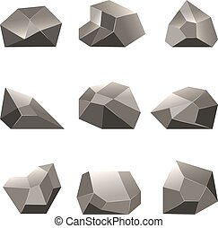 Polygon stone or poly rocks vector set