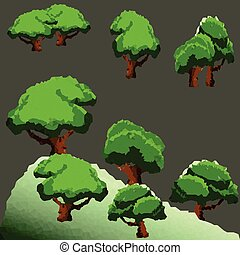 Polygon trees and pine in forest