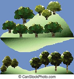 Polygon trees and pines in forest.