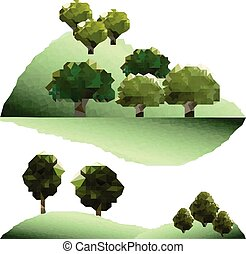 Polygon trees  in forest. Green mountain landscape.