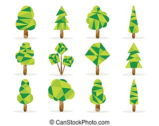 Polygon trees set. Low poly style. Vector illustration