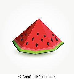 Polygon watermelon, vector illustration.