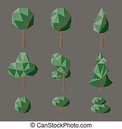 polygonal, à feuilles caduques, ensemble