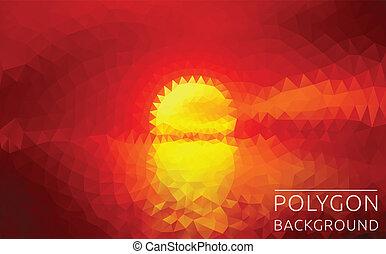 polygonal, イラスト, の, 日没