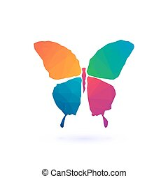 polygonal, カラフルである, モザイク, butterfly.
