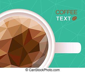 polygonal, コーヒー, スタイル, 背景, カップ