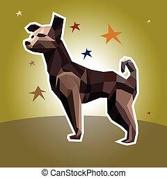 polygonal, スタイル, ベクトル, 犬