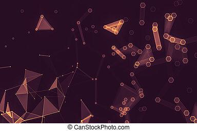 polygonal, スペース, 抽象的, poly, 暗い, レンダリング, 背景, 低い, 3d