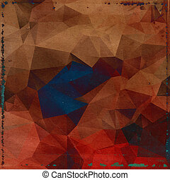 polygonal, ブラウン, 古い, 背景, 型