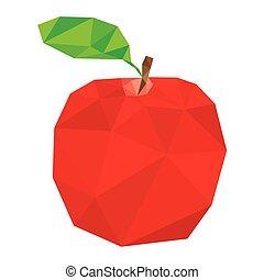 polygonal, ベクトル, アップル, 赤