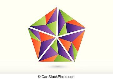 polygonal, ロゴ, 抽象的, ベクトル