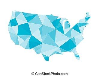polygonal, 州, 合併した, 地図