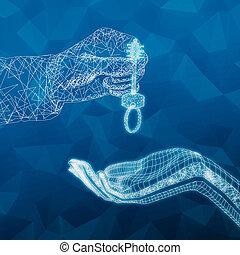polygonal, 手, 攙扶, 鑰匙