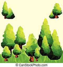 polygonal, 抽象的, 緑の風景, 松