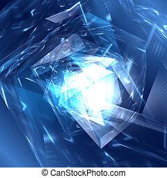 polygonal, 背景, 抽象的, 青, 未来派