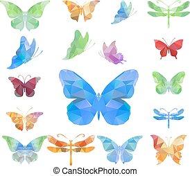polygonal, 蝶, 三角形