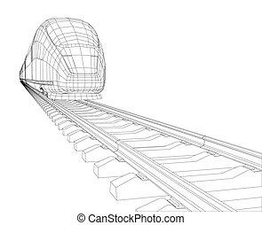 polygonal, 高速, 抽象的, 列車, 乗客