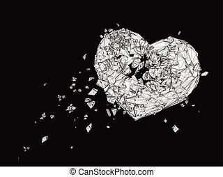 polygonal, 黒い心臓, 壊される, 白, グラフィック