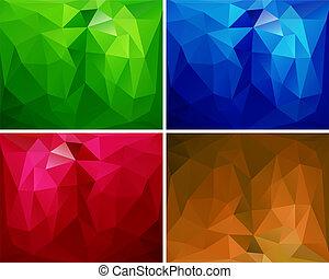 polygonal, 2, set, achtergronden