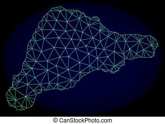 polygonal, 2d, malla, vector, resumen, mapa, de, isla de...