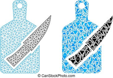 Polygonal 2D Mesh Cutting Board and Knife and Mosaic Icon