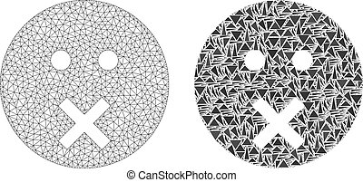 Polygonal 2D Mesh Silence Smiley and Mosaic Icon