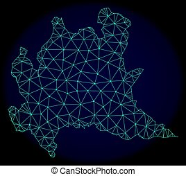Polygonal 2D Mesh Vector Abstract Map of Lombardy Region -...