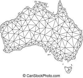 Polygonal 2D Mesh Vector Map of Australia