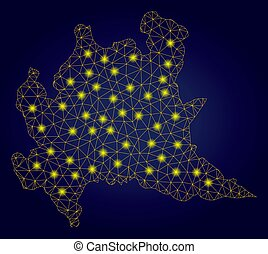 Polygonal 2D Yellow Lombardy Region Map with Light Spots -...
