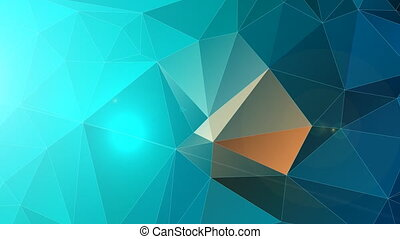 Polygonal abstract background in cyan and blue color